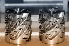 新的现代工业切削刀 切割工具 布朗定了调子图象 免版税库存图片