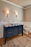 新的现代家庭豪宅客人卫生间 免版税库存图片