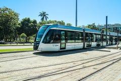 新的电车叫在圣杜蒙特机场,里约热内卢前面的` VLT ` 库存照片