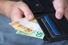 新的白俄罗斯语的卢布在钱包里 免版税库存图片