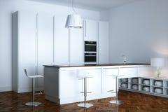 新的白色当代厨房家具在minimalistic屋子里 皇族释放例证