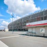 新的皮埃尔・莫鲁瓦橄榄球场售票处看法  免版税库存照片