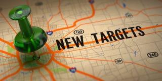 新的目标-在地图背景的绿色图钉。 免版税库存图片