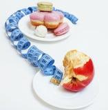 新的真正的饮食概念,问题签到measurment磁带形状  免版税图库摄影