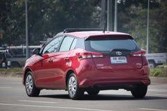 新的私人汽车丰田亚里斯斜背式的汽车Eco汽车 免版税库存照片