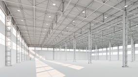 新的空的白色工厂厂房内部3d例证 皇族释放例证