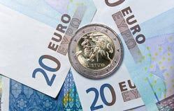 新的立陶宛人2欧元硬币 免版税库存图片