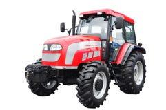 新的红色农业拖拉机被隔绝在白色背景 机智 免版税库存图片