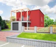 新的红色现代房子 免版税库存照片