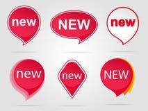 新的红色贴纸集合 库存照片