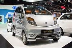 新的纳诺汽车在第30泰国国际马达商展的陶陶2013年12月3日在曼谷,泰国 免版税图库摄影