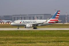 新的美国航空空中客车A319 免版税库存照片