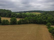 新的自由、宾夕法尼亚和周围的农田du天线  库存照片