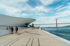 新的艺术馆、建筑学和Technology Museu de Arte, Arquitetura e Tecnologia或MAAT 图库摄影