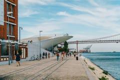 新的艺术馆、建筑学和Technology Museu de Arte, Arquitetura e Tecnologia或MAAT 免版税库存图片