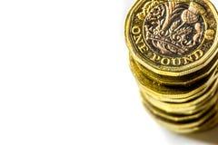 新的英国一英镑硬币图率 库存照片