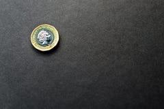 新的英国在黑暗的背景的一个纯正的1英镑硬币 免版税图库摄影