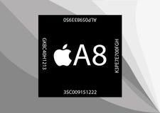 新的苹果计算机A8处理器 免版税库存照片