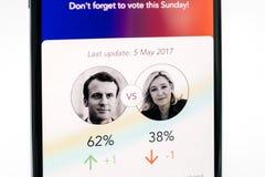 新的苹果计算机iPhone x 10与在法国伊曼纽尔macron a的竞选 免版税库存图片