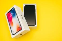 新的苹果计算机Iphone x旗舰智能手机 免版税库存图片