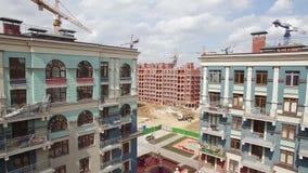 新的被建立的和未完成的公寓楼,鸟瞰图 俄国 股票视频