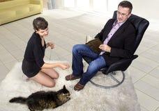 新的被采取的宠物在客厅 免版税库存照片
