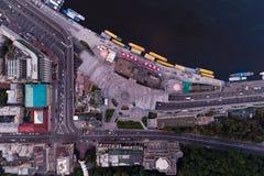 新的被重建的邮政正方形在市基辅 在视图之上 图库摄影