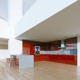 新的装饰的当代红色厨房在豪华大家 免版税库存照片