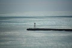 新的西兰港口跳船和光在Oamaru 免版税库存照片