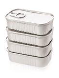 新的设计的锡罐在白色 库存图片