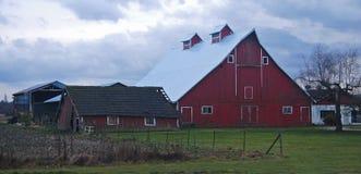 新的谷仓和老棚子 库存图片