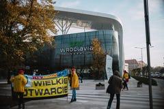 新的购物中心Wroclavia的第一天在弗罗茨瓦夫 免版税库存图片
