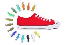新的运动鞋鞋子-红色 库存图片