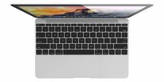 新的银色MacBook空气 库存图片