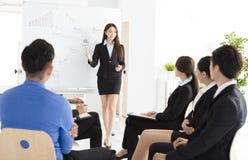 介绍新的项目的女实业家对伙伴在办公室 免版税库存图片