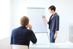 介绍新的项目的女实业家对伙伴 免版税库存图片