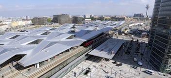新的维也纳主要火车站 免版税库存照片