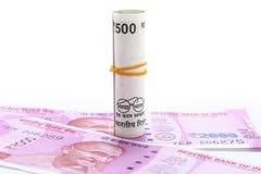 新的500和1000 rs笔记 免版税库存照片