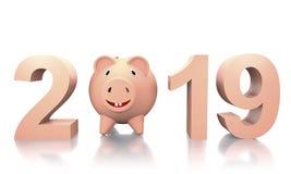 新的2019年公猪年3d例证 皇族释放例证