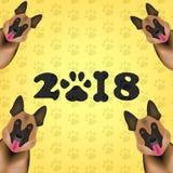 新的2018年概念 狗是新的2018年标志中国黄道带  中国日历新年狗2018年 传染媒介Illust 向量例证