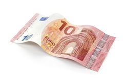 新的10欧元票据隔绝与裁减路线 免版税库存图片