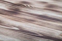 新的轻的木被烧的背景 选择聚焦 免版税图库摄影