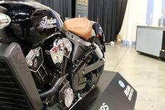 新的黑美国摩托车 免版税库存照片