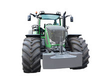 新的绿色强有力的拖拉机被隔绝在白色 库存图片