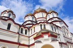 新的Athos修道院在阿布哈兹2016年7月 库存照片