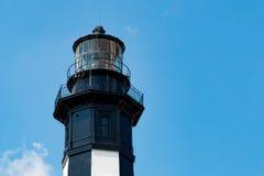 新的Cape Henry灯塔上面特写镜头视图  库存图片