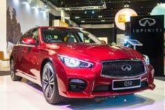 新的Infiniti Q50在新加坡Motorshow 2015年 免版税库存照片