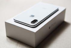 新的Iphone x智能手机式样关闭 免版税图库摄影