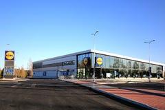 新的Lidl商店在Halikko,芬兰 库存照片