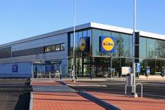新的Lidl商店在Halikko,芬兰 免版税库存照片